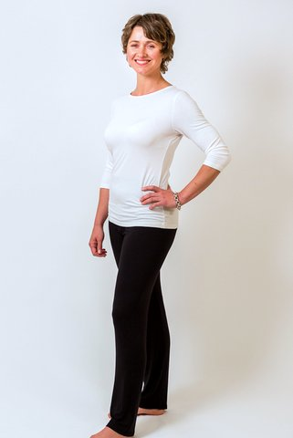 Ivory bamboo boat neck top