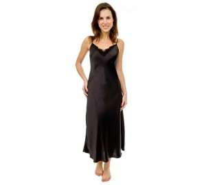 Long Silk Nightie with lace- Simply Silk