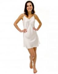 Silk Chemise Nightie with lace - Simply Silk