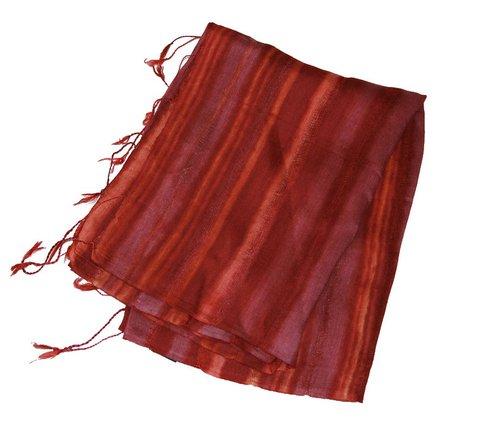 Burgunday strip silk scarf