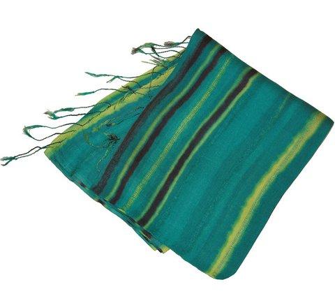 green stripe silk scarf